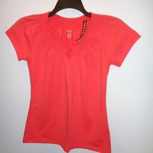 NWT Women's Merona Smocked Neck Top Size M